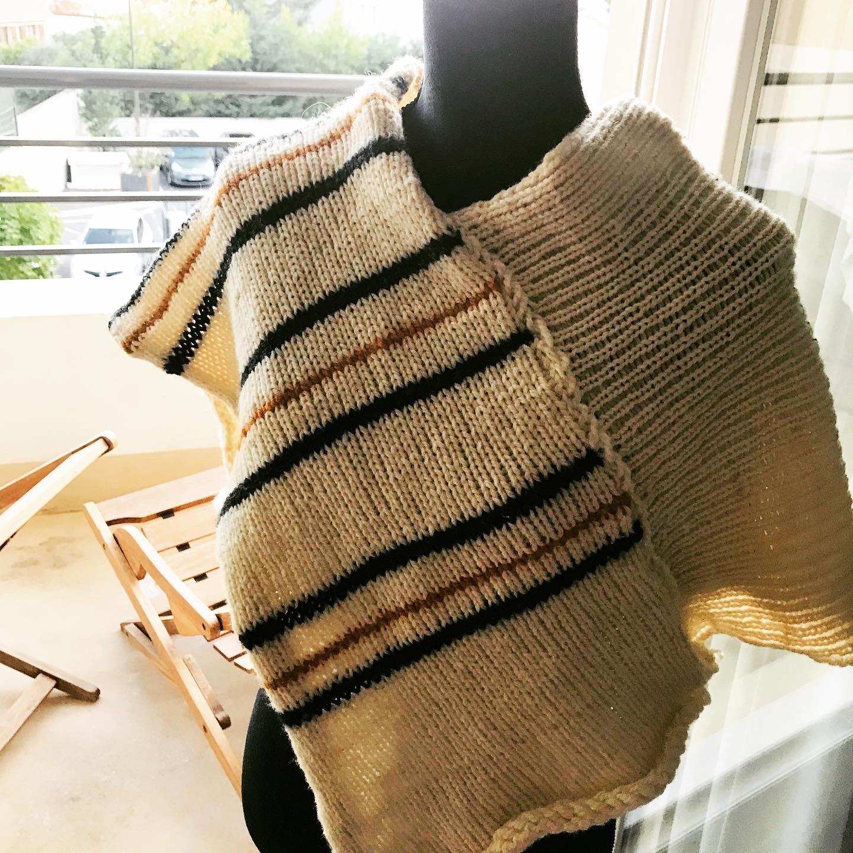 troc de troc poncho court en pure laine fait main - «tanger» image 0