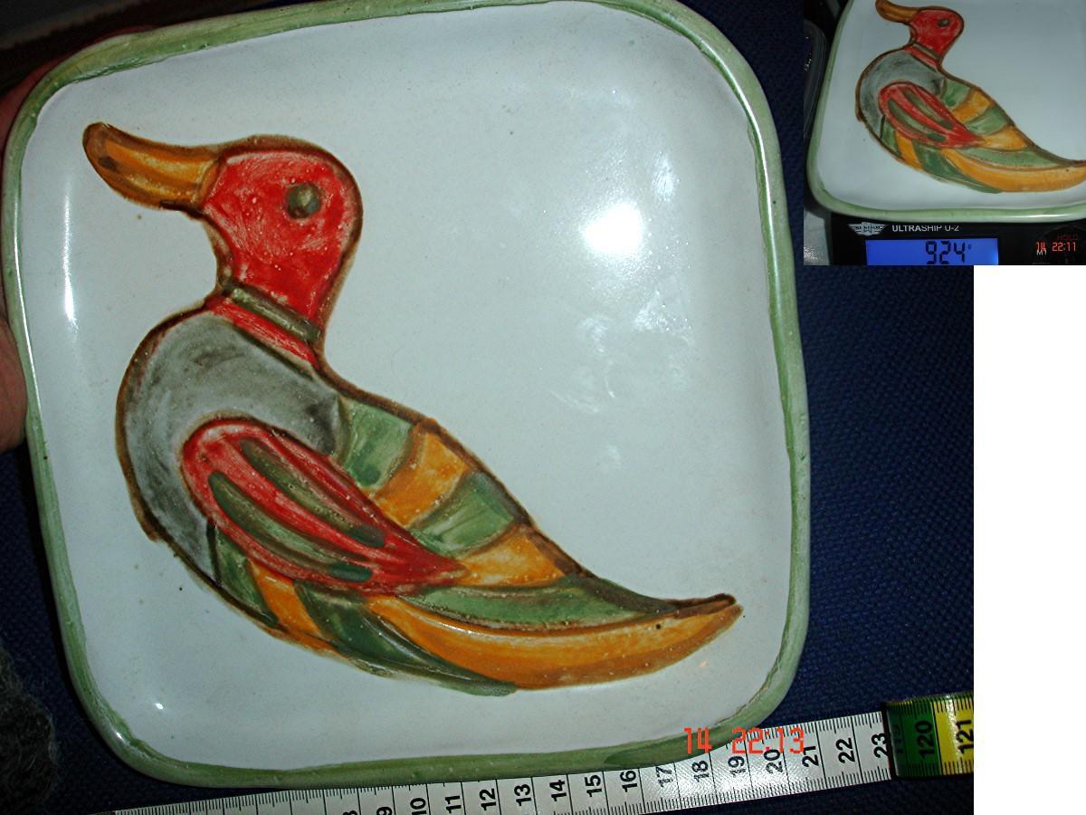 troc de troc plat carrÉ assiette signÉe >canard automnal colorÉ 924 g image 0