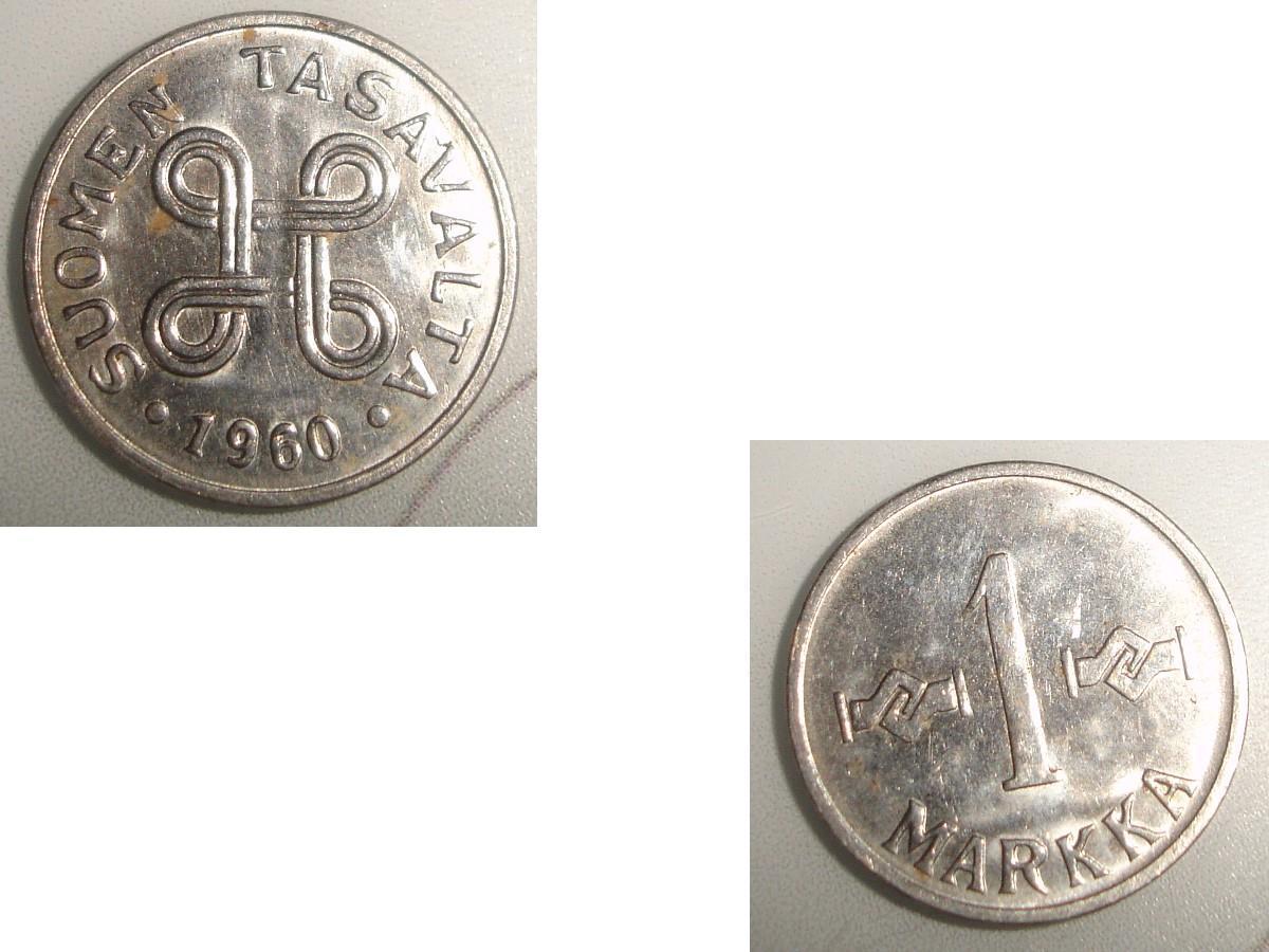 troc de troc 1 monnaie finlande suomen tasavalta 1 markka soit 1955 ou 1957 ou 1960 image 2