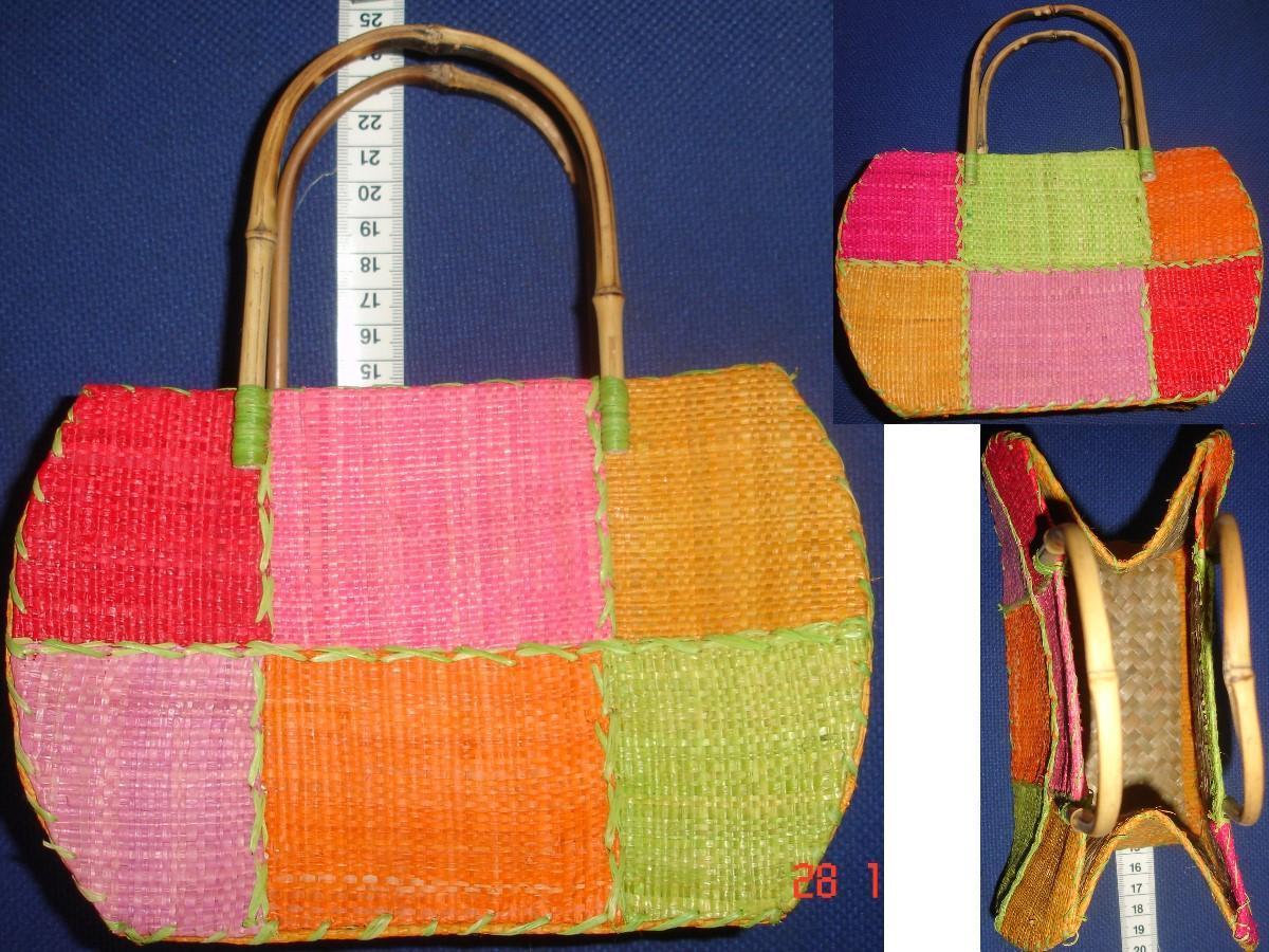 troc de troc petit sac paille osier couleurs pastels avec anses bambou image 0