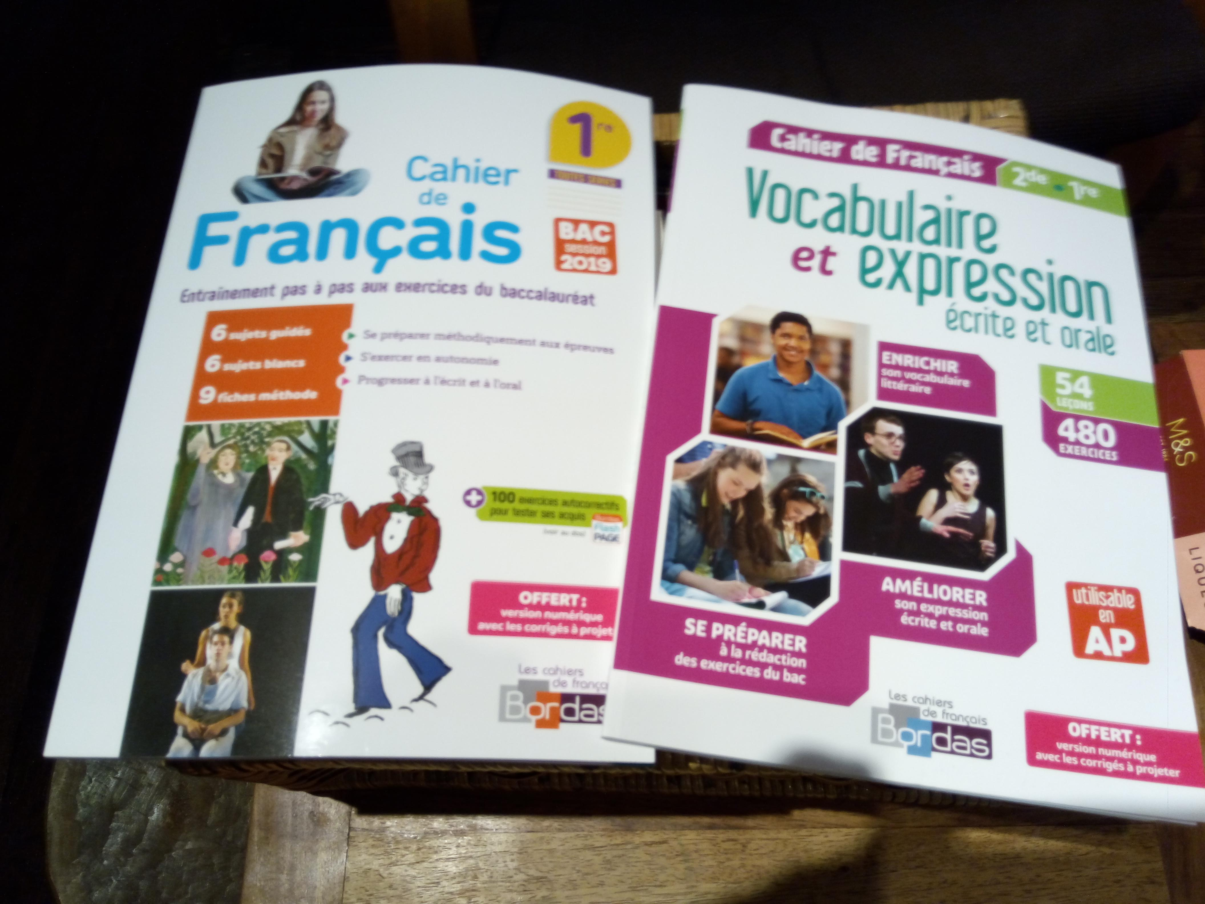 troc de troc cahiers de français 2de et 1ere corrigés (neufs) image 0