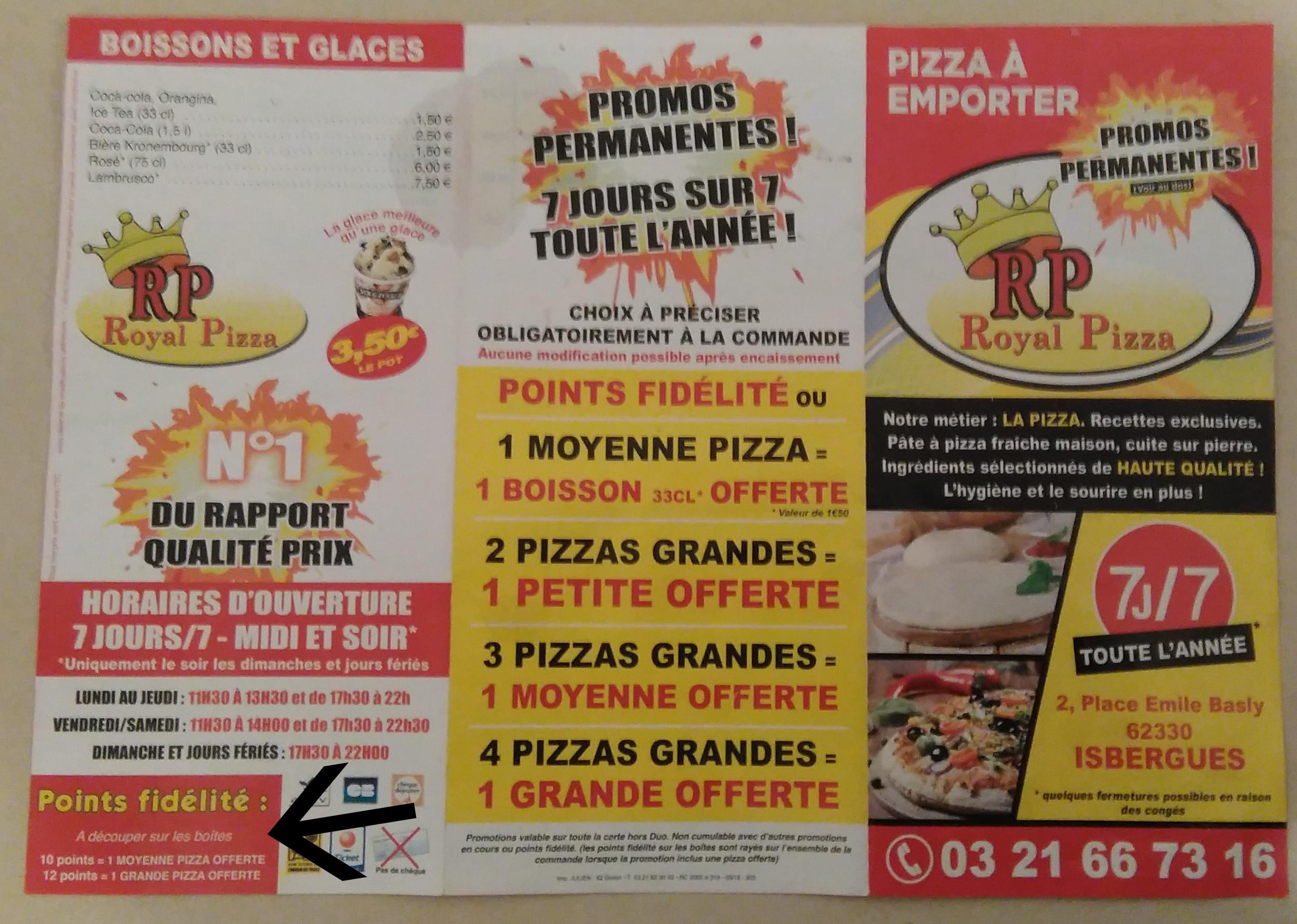 troc de troc 3 points fidélité royal pizza isbergues (lot2) image 1