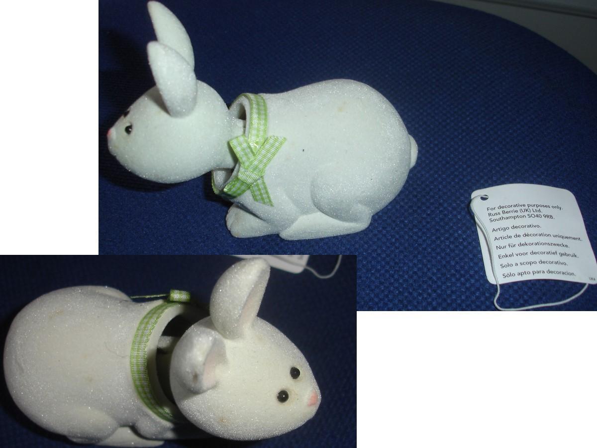 troc de troc rare : petit lapin blanc russ berrie uk / avec 1 tÊte mobile image 0