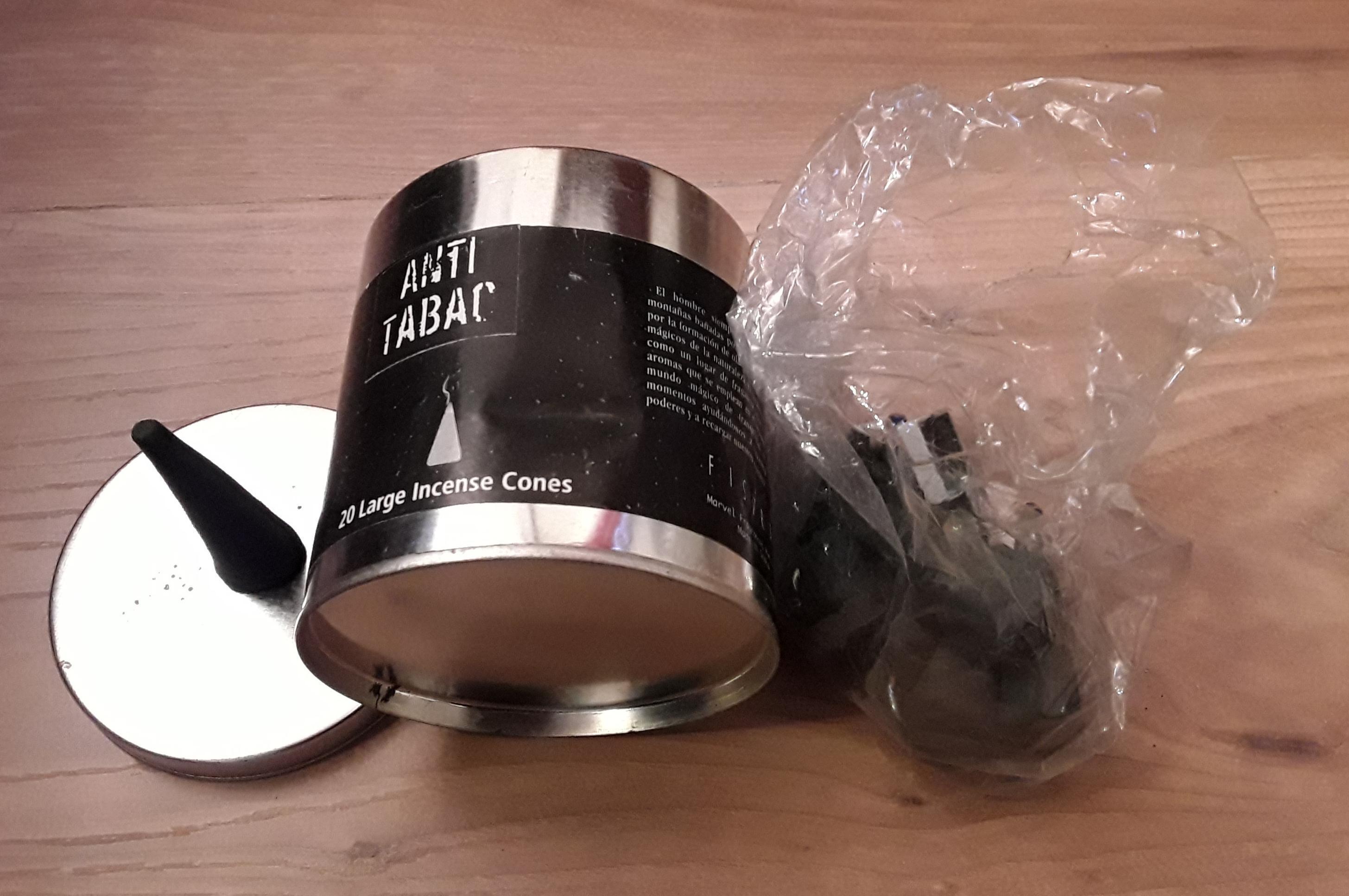 troc de troc 6 grands cônes d'encens anti tabac dans boîte métal image 0