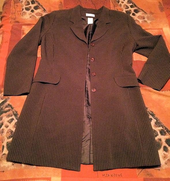 troc de troc ***réservé*** veste femme - comme neuve - veste longue marron rayée image 1