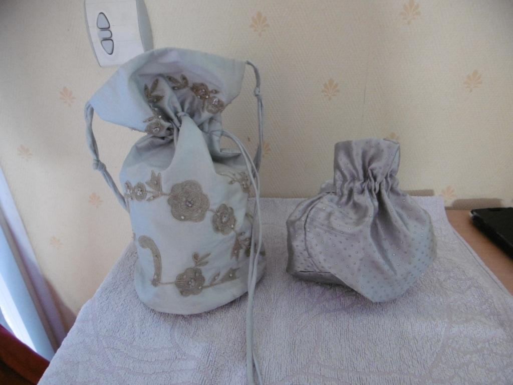 troc de troc 2 bourses / sacs en tissus gris image 0