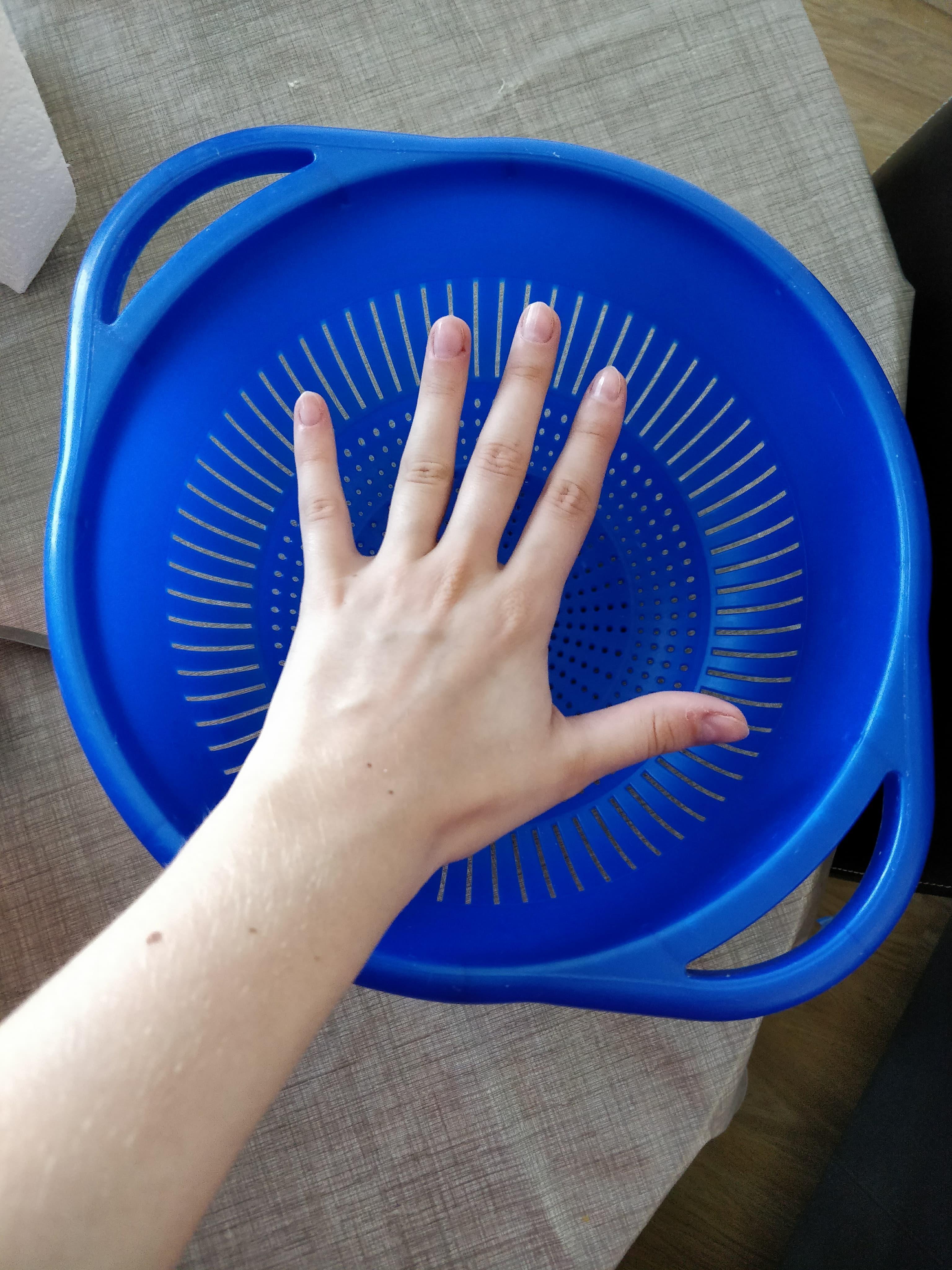 troc de troc grande passoire en plastique bleu image 1