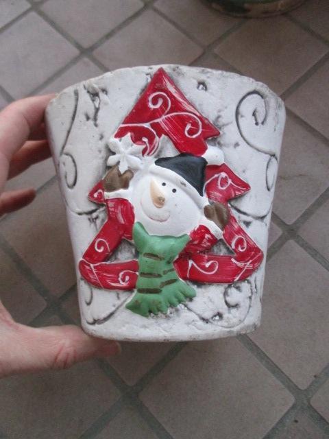 troc de troc pot de noel pour plantes bonhomme de neige image 0