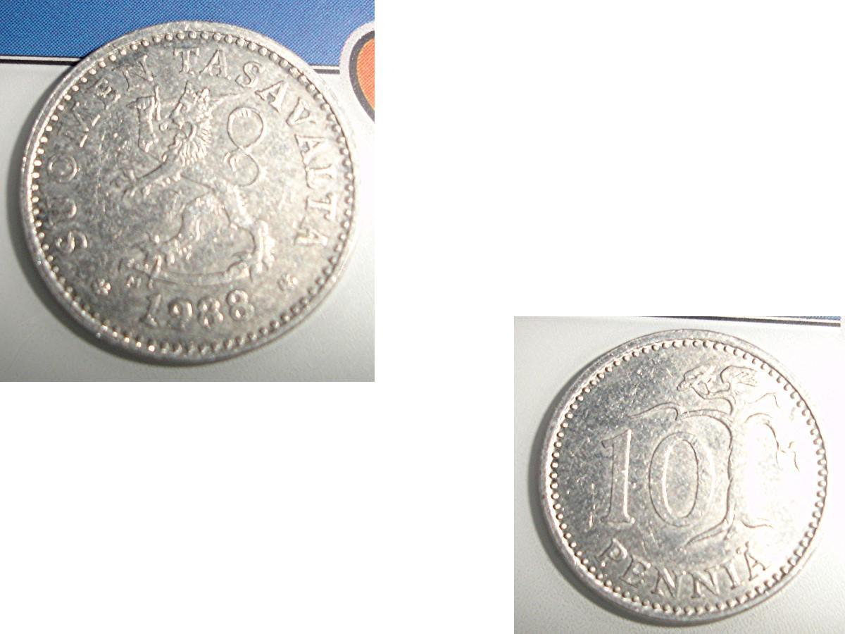 troc de troc 1 monnaie finlande suomen tasavalta 10 penniÄ alu soit 1987 ou 1988 ou 1990 image 1