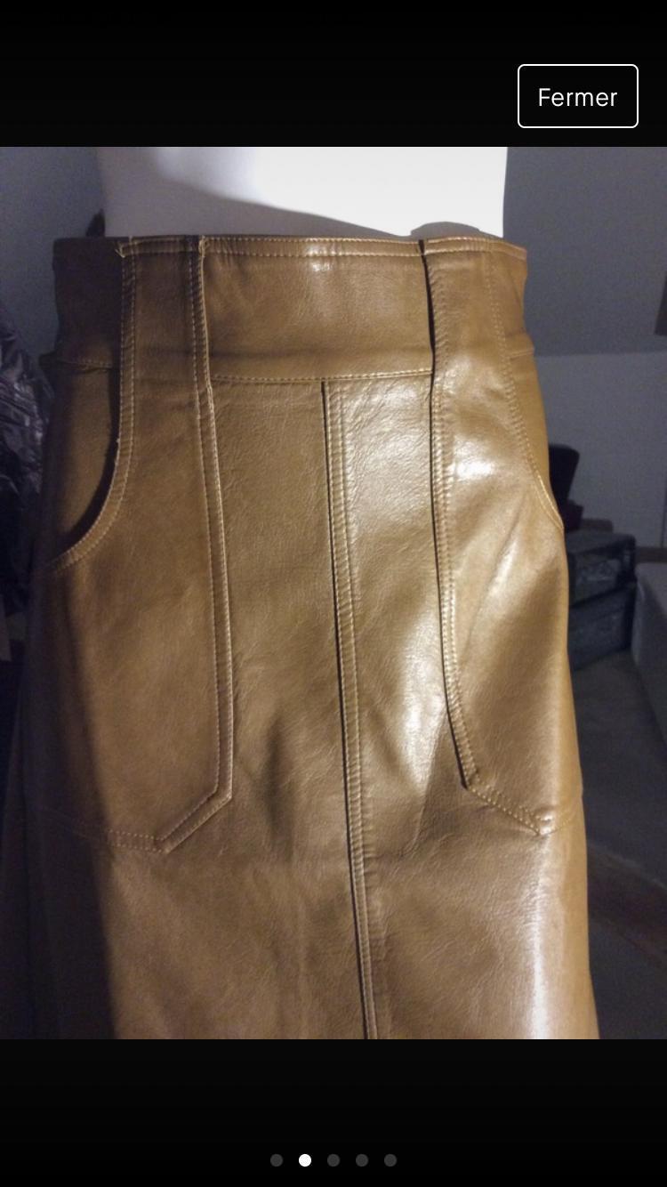 troc de troc jupe droite camel imitation cuir image 2
