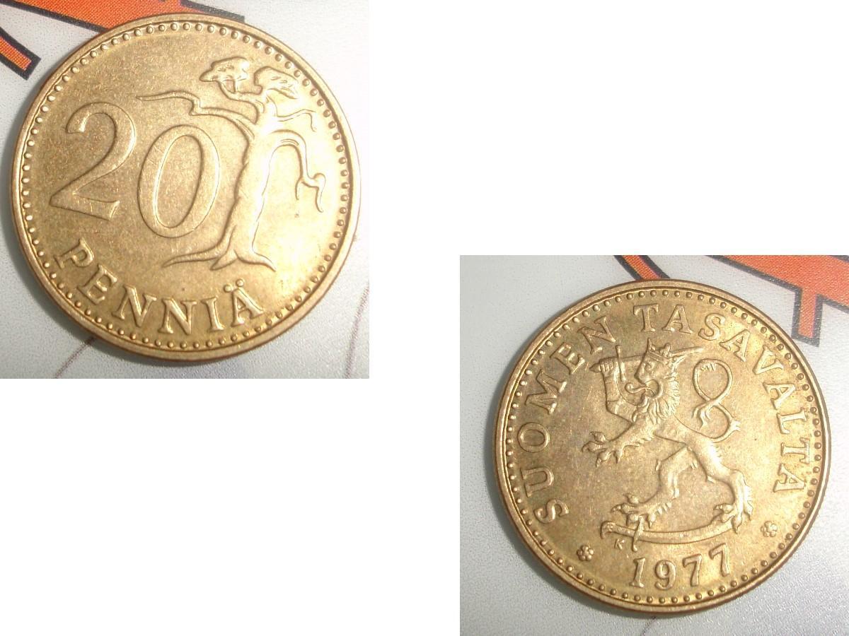 troc de troc pièce monnaie finlande suomen tasavalta 20 penniÄ de 1977 image 0
