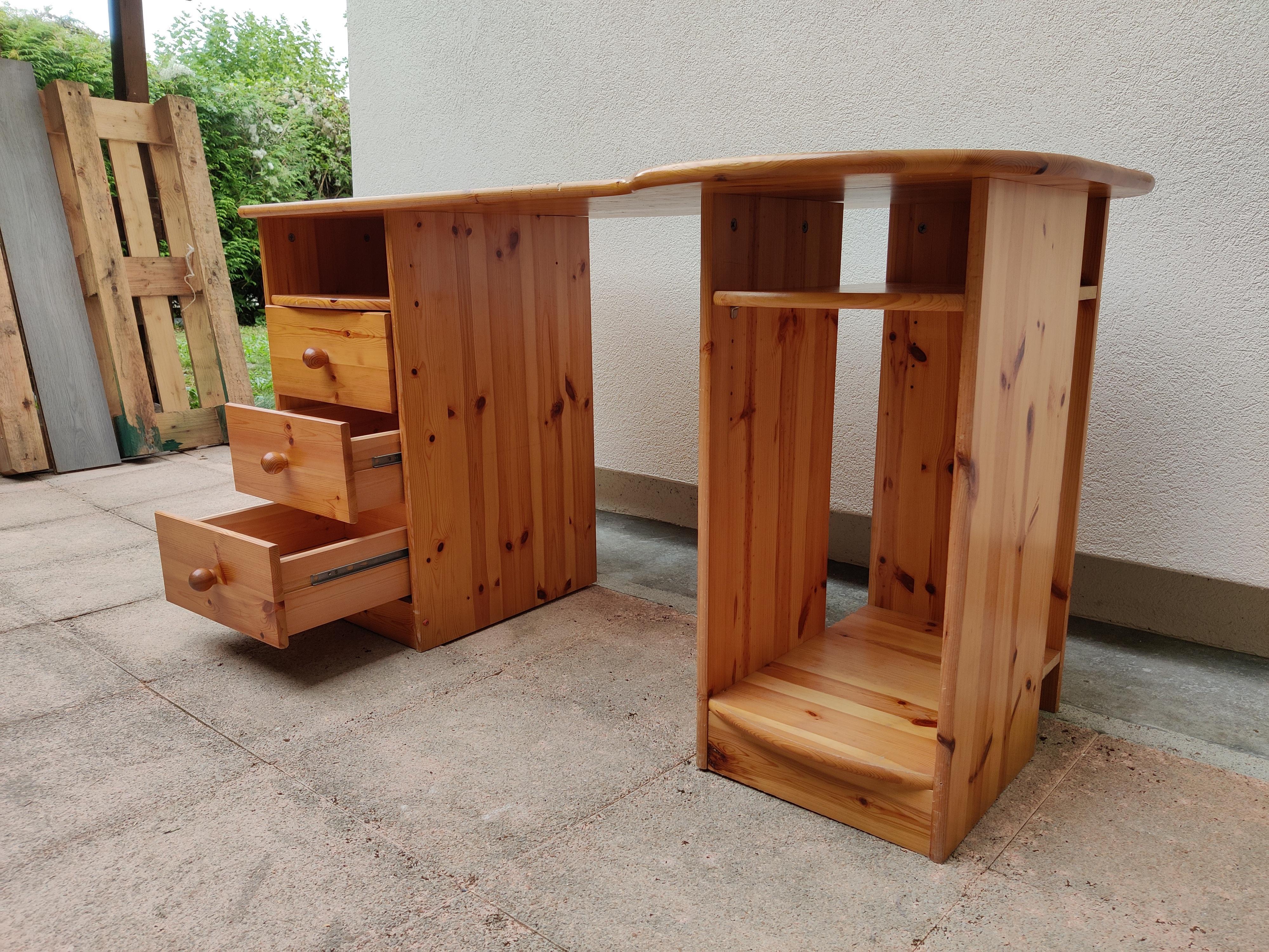troc de troc bureau en bois brut (avec rangements) image 2