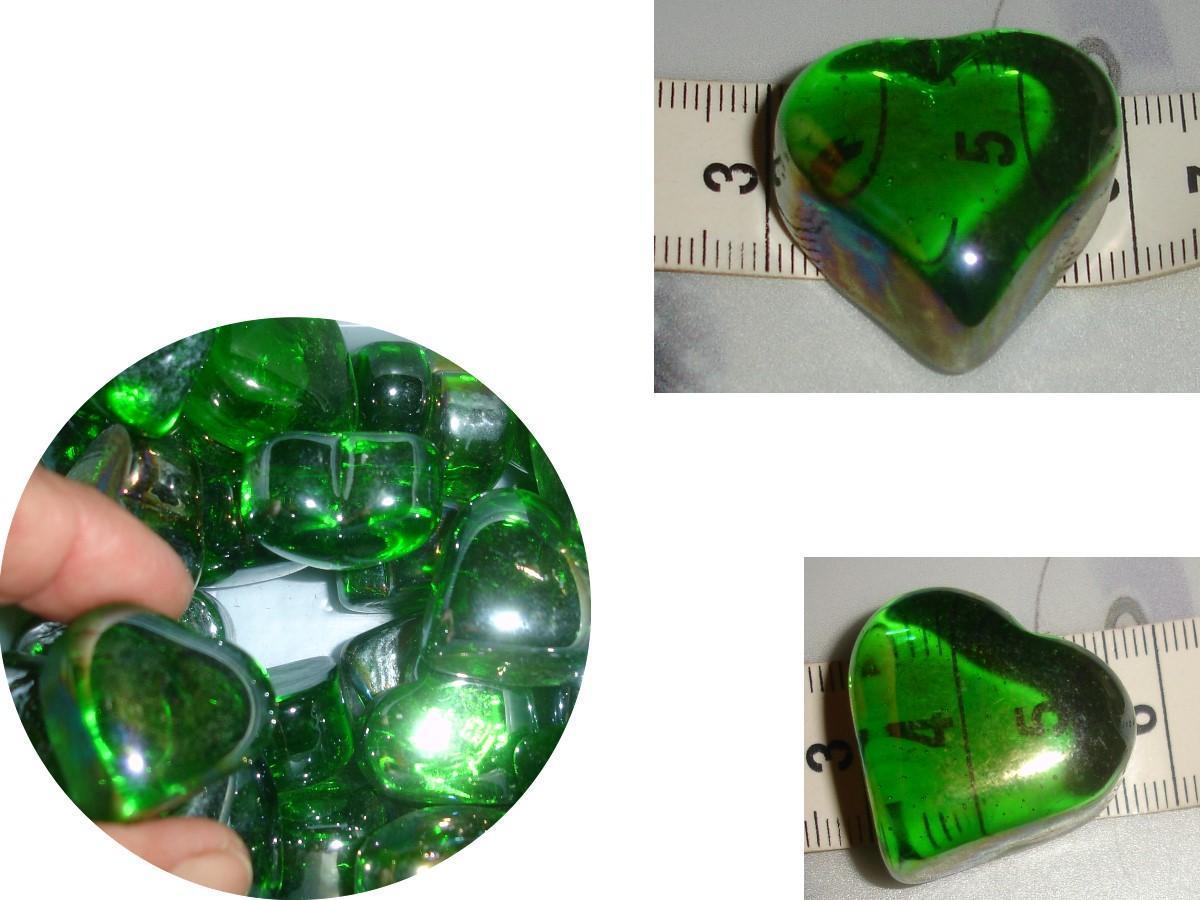 troc de troc dÉco vert irisÉ : 1 coeur verre ± 15g (j'en ai 26, demandez-moi !) image 0