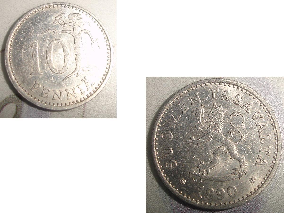 troc de troc 1 monnaie finlande suomen tasavalta 10 penniÄ alu soit 1987 ou 1988 ou 1990 image 2