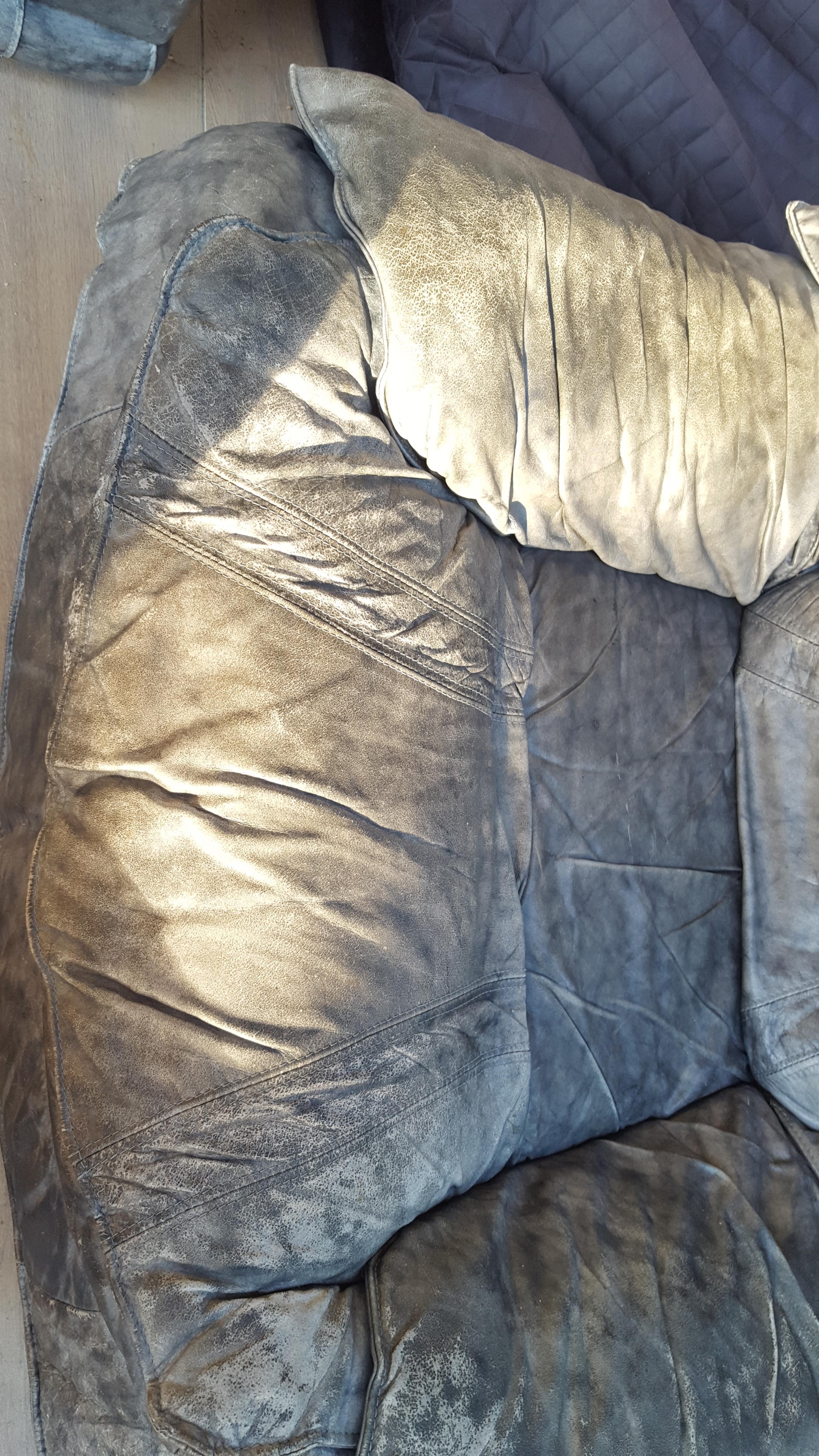 troc de troc fauteuil gris en cuir : à rénover image 2