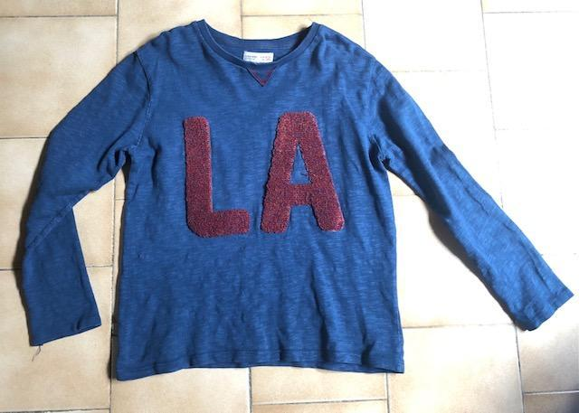 troc de troc t-shirt sweat bleu zara brodé la 10 ans  100% coton image 0